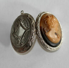 Caramel w Brown Relief Molded Resin Vintage Cameo Locket in Silver Case,