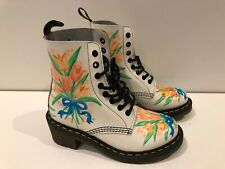 Women's Stunning Patent Floral White  Dr. Martens Boots ''Clemency'' UK4 EU37
