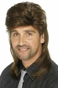 Smiffys Brown Mullet Wig Mens 80's Fancy Dress Accessory New