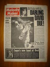 MELODY MAKER 1972 SEP 2 ALICE COOPER FACE FRANK ZAPPA