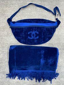 Chanel 20P XXL Blue CC Logo Cotton Beach Towel Bag Set Fanny Crossbody Bum Bag