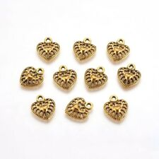 10 Heart Charms Pendants Alice in Wonderland Charms Antique Gold Findings