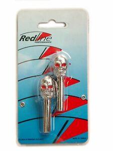 Redline Universal Pair Chrome Skull Door Lock Knobs Red Eye 2 Piece