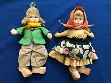 "Antique Vintage Handmade Dutch Rag Dolls 11"" w/ Wooden Shoes, Hand Painted Faces"