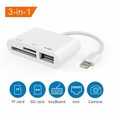 3in1 USB Card Reader Micro SD Camera DSLR Link Adapter Fits iPad iphone X/8/7/6