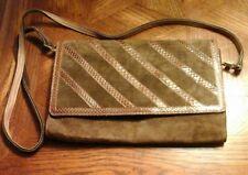 Mon Sac Brown Genuine Suede Leather Envelope Clutch Crossbody Handbag Size 9x6x1