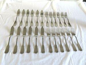Joli lot Guy Degrenne Vieux Paris: 12 couteaux et 12 fourchettes service poisson