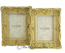 """Two Shabby & Chic Vintage Ornate Antique Gold Photo frames for a 6""""x4"""" Picture"""