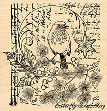 Bird Song Of Joy Collage Wood Mounted Rubber Stamp PENNY BLACK  4344K New