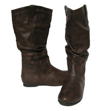 Women's Flat Winter BOOTS Slouch Pull On Style Brown Snow shoes Ladies Size 6.5