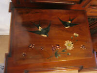 Antique 19th Century Exotic Wooden Box w/ Hand Painted Floral & Bird Decoration