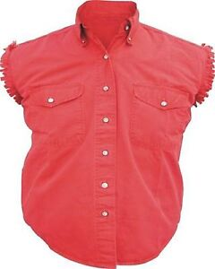 Mens Sleeveless Denim 100% Cotton Twill Shirt Biker Motorcycle RED Medium