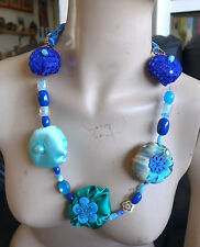 Handmade Art Fabric Necklace Soft Blue And green Colors With Beads one of a kind