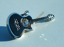 Pendentif Guitare Musique Acier Inoxydable Noir Carbone Brillant 1 Zc Cz Strass