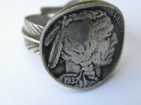 Biker ring Buffalo Indian Nickel coin sterling silver adjustable feather gift