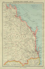 QUEENSLAND COAST, SOUTH. showing counties. BARTHOLOMEW 1947 old vintage map