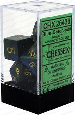 Chessex Gemini Blue Green w/ Gold Polyhedral 7 Dice Set CHX26436