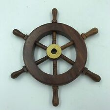 """Wood Brass 6"""" Ship Wheel Nautical Maritime Decor for Captain or Pirate in us All"""