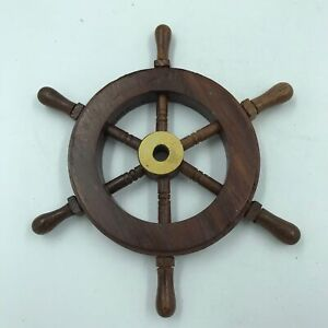 "Wood Brass 6"" Ship Wheel Nautical Maritime Decor for Captain or Pirate in us All"