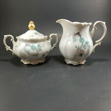 Vintage MITTERTEICH Bavaria GREEN MING Pattern Creamer & Sugar Bowl Germany