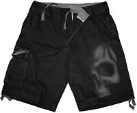 Spiral Direct SHADOW SKULL Vintage Cargo Shorts Black/Skull/Goth/Gift/Darkwear