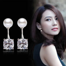 Fashion Pearl Crystal Zircon Rhinestone Silver Plated Earrings Ear Studs Jewelry