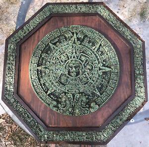 Large Mayan Aztec Sun Calendar Green Malachite Composite & Wood Octagon Wall Art