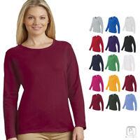 Gildan Womens Heavy Cotton Long Sleeve Plain Crew Neck T-Shirt S-3XL - 5400L