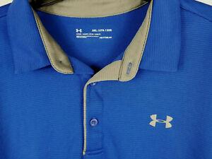 Under Armour Men's UA Polo Shirt Blue With Grey UA Logos - Size XXL 2XL