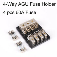 GX- 4-Way Car Audio Stereo 60A In-Line AGU Fuse Holder Power Distribution _GG