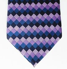 Gianni Ricci tie Purple check pure smooth silk Printed pattern  neat and smart
