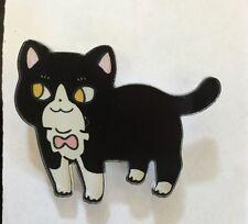 Funky peculiar Negro Tabby Cat Lindo Con Cinta Shabby Chic peculiar Broche