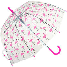 Susino Clear Automatic Dome Walking Umbrella - Pink Flamingo