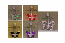 14G 3/8 Buy 2/Get 1 Free Cz Butterfly-Dragonfly Belly Button Ring Navel Barbell