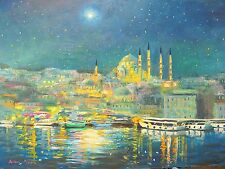 American Listed Nino Pippa Orientalist Painting of Istanbul Remembering Van Gogh