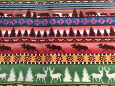 "Moose elk deer bear tree Aztec Native American Indian fleece fabric, 60""w, BTY"