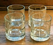 ANCHOR HOCKING TARTAN CLEAR SET OF 4 OLD FASHIONED ROCKS TUMBLER LOWBALL GLASSES