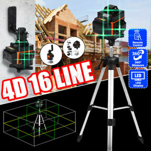 16 Line 4D 360° Rotary Green Laser Level Self Leveling Measure + Remote