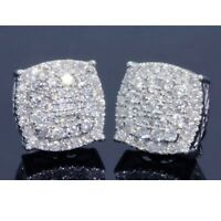 Womens Mens 14K White Gold Over 1.50 CT D/VVS1 Diamond Cluster Stud Earrings