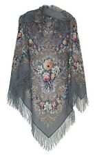 Large Russian Woolen Shawl #143701 (silk fringe)