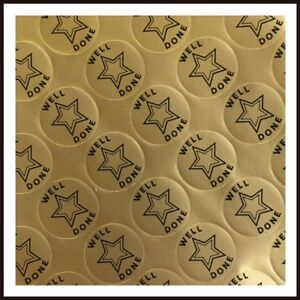 WELL DONE Gold Star Reward Stickers For Teachers or Parents 30mm SCHOOL STICKERS