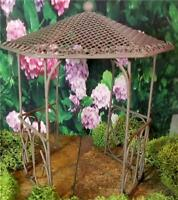 Miniature Dollhouse FAIRY GARDEN Furniture Large Rustic Metal Gazebo