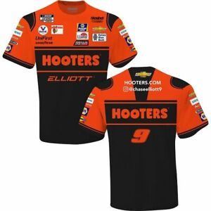 Chase Elliott 2021 Checkered Flag Sports #9 Hooters Sublimated Pit Crew Tee FREE