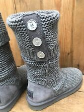Grey Cardigan Knit UGG Boots Size 6