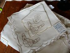 "Madeira Cut Work Linen Hand Made Lace Embroidery 72"" x 108"" Tablecloth + 12 Naps"