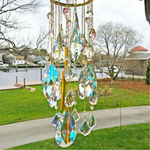 Kirks Folly Dance Of The Crystal Queen Chandelier Wind Chime goldtone