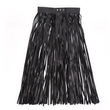 Hippie Boho Fringe Tassel Faux Leather Ladies Women Belt Long High Wide Belts