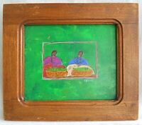 Painting Primitive Folk Art Outsider Naive Vintage  Icono Vegetable Vendor Green
