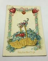 Valentine Greetings Postcard Basket of Hearts Gold / Glossy/ Used /AS IS Germany