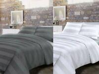 JACQUARD WHITE GREY STRIPE BEDDING SATEEN DUVET QUILT COVER BED SET PILLOWCASE